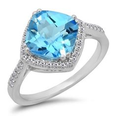 14K Gold Cushion Cut Blue Topaz & Round Cut White Diamond Ladies Bridal Halo Style Engagement Ring #cushioncutdiamonds