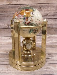 shopgoodwill.com: Stone Inlay Rotating Globe w Clocks   Thermometer