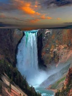 Waterfall in Yellowstone National Park, Wyoming United States