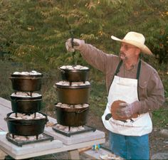 Dutch Oven Stacking  Hmmmm....I see a multi-coursed meal in my future camping.