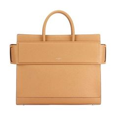 """Horizon Medium Textured Leather Tote Bag by Givenchy. Givenchy grained calfskin leather tote bag. Silvertone hardware. Rolled top handles, 4.5"""" drop. Flat shoulder strap, 17"""" drop. Belted open top with snap sides. Embossed logo at front. Interior, leather lining; removable zip pouch; flap p... #givenchy #bags"""