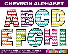 Chevron Alphabet, Chevron Numbers, SVG, DXF, Vector Art, Die Cut Files for Cricut, Silhouette, Vinyl Cutter, Screen Printing & Monogramming