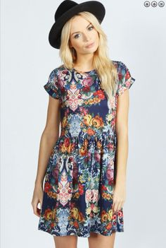 Omg I love this dress soo much!! Online at boohoo.com! #love #dress #want #navy #red #yellow #pink #hair #blonde #hat #black #model #accesories #outfit #vintage