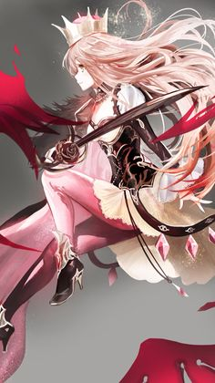 Anime girl with sword and crown Manga Girl, Manga Anime, Anime Art, Anime Girls, Anime Side View, Fantasy Characters, Anime Characters, Beautiful Anime Girl, Manga Pictures