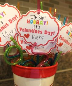 "Kinzie's Kreations: Valentines 2013. ""Sip-Sip"" Hooray! It's Valentines Day! Free printable for this fun valentine."