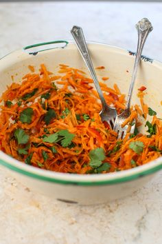 Fresh Carrot Salad with Coriander--maybe with brats on the side?  Because apparently that is my go-to protein when I can't think of anything else.