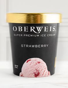 Ripe, juicy strawberries are pureed then woven throughout our classic strawberry ice cream, transporting you to a summer day, no matter the weather. Add a pint or quart of yummy Super Premium Oberweis Ice Cream to your delivery order today! #oberweishomedelivery #oberweisicecream