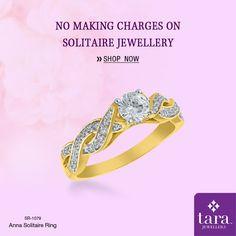 A spectacular solitaire ring in gold with the shank in a twine motif studded with diamonds.  http://bit.ly/2rmI8AV #Solitairejewellery #TaraJewellers #Diamondjewellery #Certfieddiamonds #BIShallmarkedjewellery