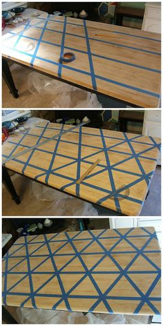 Kitchen table redo - Nine Red How To DIY Triangle Pattern Kitchen Tabletop Paint Furniture, Furniture Projects, Furniture Makeover, Hutch Makeover, Metal Desk Makeover, Furniture Design, Trendy Furniture, Kitchen Furniture, Kitchen Table Makeover