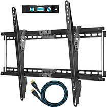"""Cheetah Mounts APTMM2B TV Wall Mount for 32-65"""" TVs Bundle with 10-feet Braided HDMI Cable and a 6 Inch, 3-Axis Magnetic Bubble"""