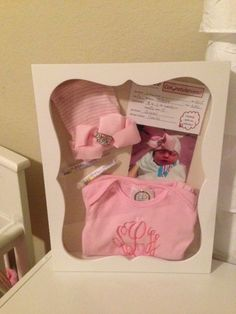 A shadowbox using an INFANTEENIE BEENIE™~   www.infanteeniebeenie.com  the only hat that will fit and stay snug to all newborns!  seen in glamour mag!  #newborn, #baby shadow box, #baby shadow box ideas, #baby Girl Shower, Baby Shower, Girl Nursery, Nursery Ideas, Diy Shadow Box, Baby Gadgets, Toddler Girl Outfits, Baby Crafts, Handmade Baby