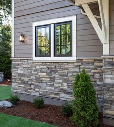 Home Exterior/Entrance: Sterling, LEDGESTONE - Versetta Stone® Brand_Stone Siding. May be nice for the exterior siding. Exterior Gris, Exterior Design, Black Exterior, Modern Exterior, House Paint Exterior, Exterior House Colors, Stone On House Exterior, Exterior Windows, Stone Veneer Exterior