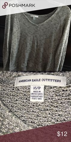 Grey soft thin american eagle long sleeve shirt Very soft, good for fall! Meshy feel but not entirely see through. Worn a few times but years ago, now too small. Still in perfect condition American Eagle Outfitters Tops Tees - Long Sleeve