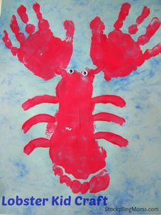 This Lobster Kid Craft is so fun and easy to do with your children— all you need is paper and red tempera paint! Get ready for an afternoon of finger and feet painting together.