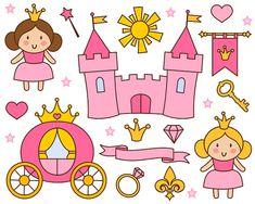 Cute Little Princess Clip Art Pink Princess Clipart by YarkoDesign