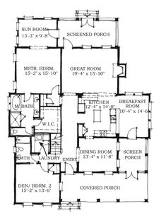 Allison Ramsey Architects   Floorplan for Hartsville - 2922 square foot house plan # C0356  OMIT 1 OF UPSTAIRS BEDRMS