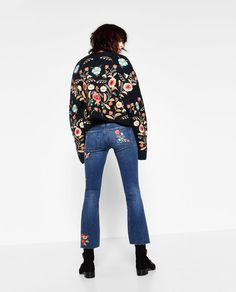EMBROIDERED CROPPED JEANS-View all-JEANS-WOMAN | ZARA United Kingdom