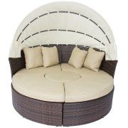 Outdoor Patio Sofa Furniture Round Retractable Canopy Daybed Brown Wicker Rattan Image 3 of 5