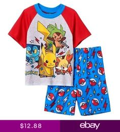 1fe24d5476 Pokemon Big Boys Character Shorts Pajama Set Bedtime will be his favorite  time with these boys  Pokemon Pikachu pajamas.
