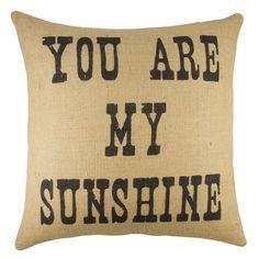 'You are My Sunshine' Burlap Throw Pillow