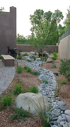 What a beautiful side yard landscaping treatment for a house in the Southwest.  Play Slideshow