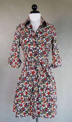 LANDS' END NEW Navy Floral Stretch Cotton Belted Shirt Dress Full Skirt Size 4P  #LandsEnd #SundressShirtDress #Casual