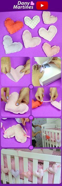 Faça você mesmo decoração para berço, mobile de coração, decoração quarto de bebê, diy , do it yourself