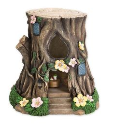Miniature Fairy Garden Solar Teardrop Window House Stump | Miniature Fairy Gardens