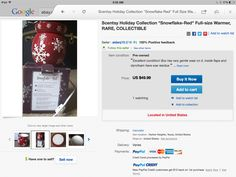 Scentsy red snowflake warmer