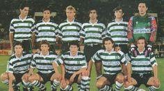 Sporting 1992-93 com Leal, Barny, Valckx, Peixe, Iordanov e Ivkovic. Marinho, Cadete, Balakov, Figo e Filipe.