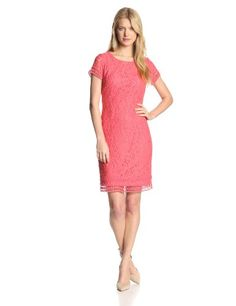 Laundry by Shelli Segal Women's Cap Sleeve Lace With Keyhole Back, Calypso Coral, 10