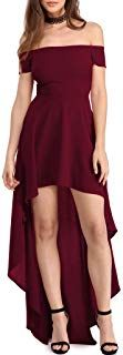 Dearlovers Womens Sexy Off Shoulder Cocktail Party Skater Dress Simple Dress Casual, Casual Summer Dresses, Classy Dress, Summer Dresses For Women, Simple Dresses, Pretty Dresses, African Prom Dresses, Cocktail Dresses With Sleeves, Burgundy Bridesmaid Dresses