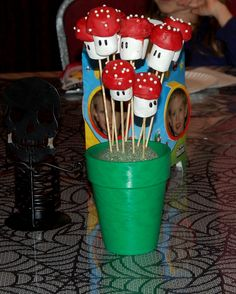 Mushroom Pops made with Wilton's Candy Melts, Marshmallows, white pearls and a Wilton Food Marker #wiltoncontest