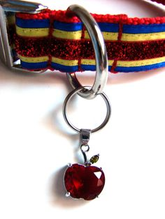 Disney Dog Collar Snow White Dog Collar Princess Dog Collar with Bow and Apple Charm. $30.00, via Etsy.