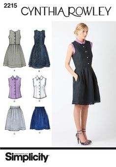 Simplicity pattern 2215: Misses' & Miss Petite Dress, Skirt and Blouse. Cynthia Rowley Collection.