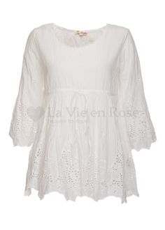 Ilse Jacobsen White Voile 3//4 Sleeves Graphic Motive Cotton Blouse Apparel M New