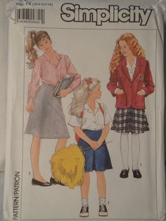 Simplicity 9268 Girls 10 12 14 Skirts Blouses Unlined Jacket 1989 - pinned by pin4etsy.com