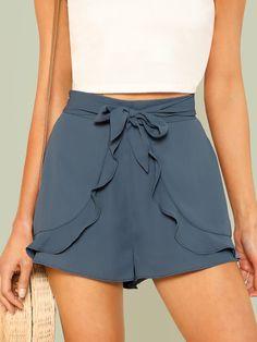 Ruffle Trim Self Belted Shorts -SheIn(Sheinside)