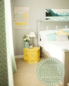 Master Bedroom Makeover with soft gray, yellow, and turquoise colors www.KristenDuke.com