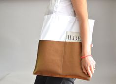 Shopper Weiß Kupfer via mien - Accessoires handmade in Berlin. Click on the image to see more!