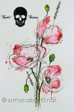 Download Free poppy tattoo design to use and take to your artist.