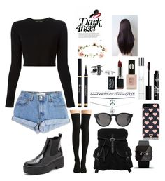 """""""#DarkAngel"""" by ellen2104 ❤ liked on Polyvore featuring Levi's, Proenza Schouler, even&odd, Jeffrey Campbell, Monki, Kate Spade, 1:Face, Wet Seal, Rouge Bunny Rouge and Topshop"""