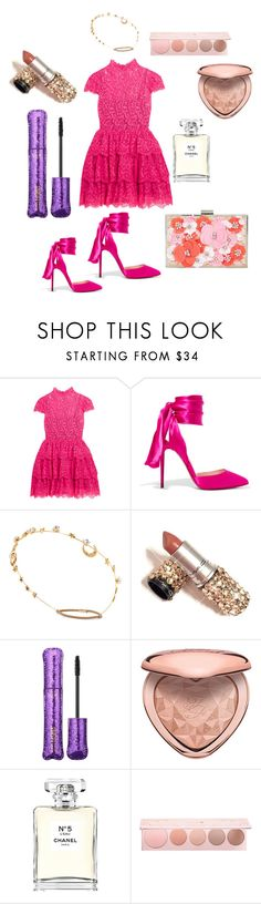 """""""Christmas lunch"""" by andiswas ❤ liked on Polyvore featuring Alice + Olivia, Christian Louboutin, Jennifer Behr, tarte, Too Faced Cosmetics, Chanel, 100% Pure and New Look"""