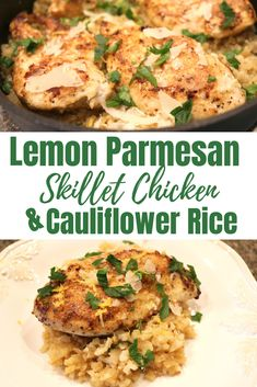 Lemon Parmesan Skillet Chicken & Cauliflower Rice is the perfect quick fix dinner.  It is ready in less than 30 minutes and loaded with TONS of flavor...trust me you need to make this ASAP! . #chicken #lemon #parmesan #recipe #dinner #quick #sparklesnsprouts