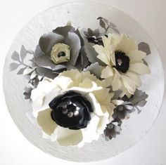 Ivory and Gray Paper Flower Cake Topper