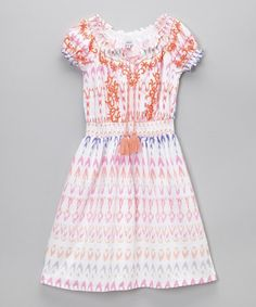 This White & Pink Ikat A-Line Dress - Toddler & Girls is perfect! #zulilyfinds