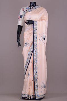 5fd8803a7f7712 Pastel Peach Resham Embroidered Tussar Silk Saree-VJ3343