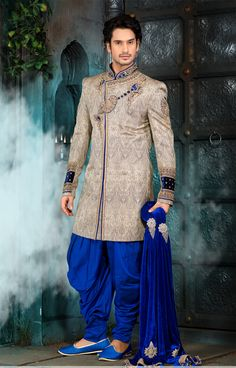 Beige Banarasi Giccha Silk Groom's Sherwani (NMK-2838)