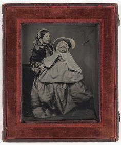 Ambrotype of a mother with baby in a bonnet