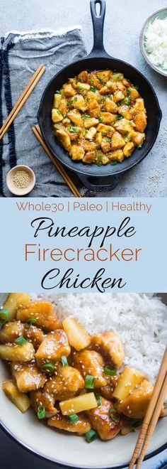 Whole30 Firecracker Pineapple Chicken - This healthy sweet and spicy chicken is way better than takeout! A gluten free paleo and whole30 compliant dinner that is always a crowd pleaser! | #Foodfaithfitness | #Paleo #Whole30 #Glutenfree #Healthy